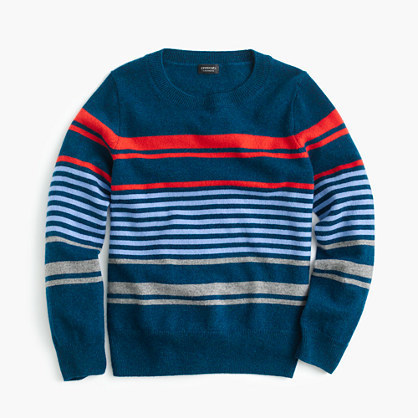 J.Crew Kids Striped Cashmere Crewneck Sweater