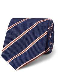 Kingsman Drakes 8cm Striped Silk And Cotton Blend Faille Tie