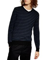 Navy Horizontal Striped V-neck Sweater