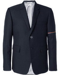 Single breasted sport coat with red white and blue selvedge in medium grey school uniform twill medium 4355223