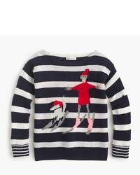 J.Crew Girls Striped Wool Olive Izzy Skiing Sweater