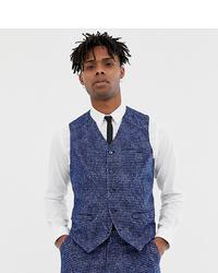 Heart & Dagger Skinny Fit Suit Waistcoat In Blue Dogstooth