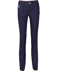 Prada Appliqud High Rise Slim Leg Jeans