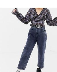 Collusion Petite Mom Jeans In Dark Snow Wash