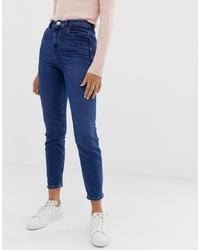 ASOS DESIGN Recycled Farleigh High Waist Slim Mom Jeans In Dark Wash
