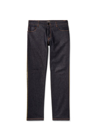 Fendi Slim Fit Logo Trimmed Denim Jeans