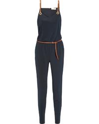 MICHAEL Michael Kors Michl Michl Kors Faux Leather Trimmed Satin Jersey Jumpsuit Navy
