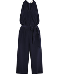 Tory Burch Wrap Effect Silk Crepe Jumpsuit Navy