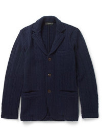 Incotex Zanone Unstructured Cable Knit Wool Blazer