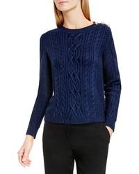 Vince Camuto Button Shoulder Cable Knit Cotton Blend Sweater