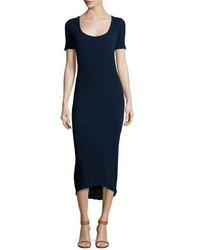 Navy Knit Midi Dress