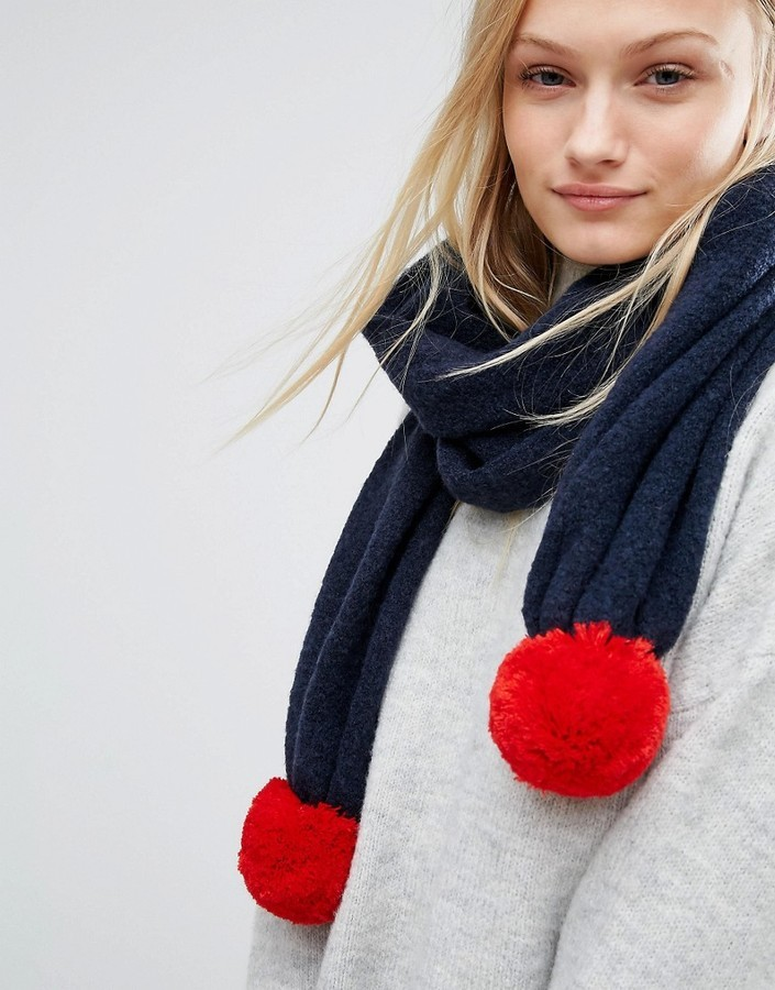 Tommy Hilfiger Knitted Scarf With Detachable Pom In Two Colors