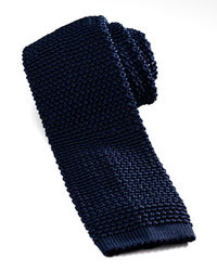 Knit silk tie marine medium 38918