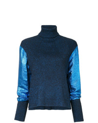 Cédric Charlier Metallic Knit Turtleneck Jumper