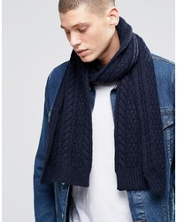 Asos Wool Mix Cable Scarf In Navy