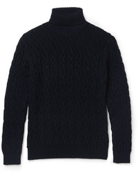 Navy Knit Wool Turtleneck