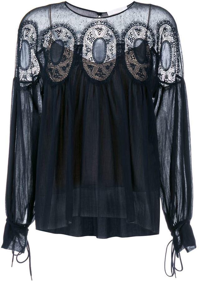 d61ddde3c75b25 Chloé Lace Insert Blouse, £780   farfetch.com   Lookastic UK