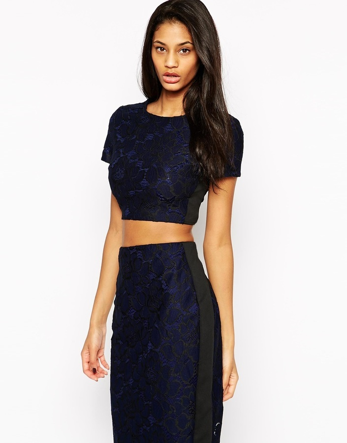 1937e1eb09edaa ... Navy Lace Cropped Tops Lipsy Allover Lace Crop Top ...