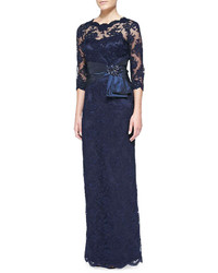 Navy Lace Evening Dress