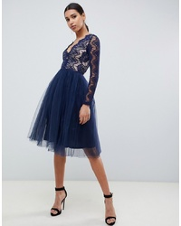 Rare London Midi Prom Dress With Scalloped In Navy
