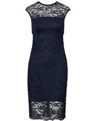 Navy Lace Sheath Dress
