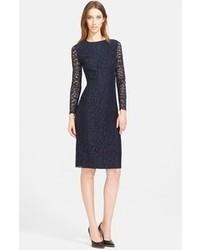 Nina Ricci Sheer Back Lace Sheath Dress