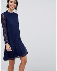 Little Mistress Lace Shift Dress With Fluted Hem