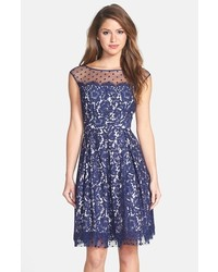Eliza J Illusion Yoke Lace Fit Flare Dress