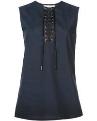 Navy Lace Sleeveless Top