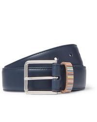 Paul Smith 3cm Navy Stripe Trimmed Leather Belt
