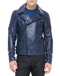 Navy Leather Biker Jacket