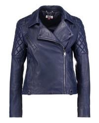 Biker leather jacket blue medium 3993150