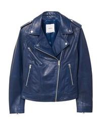 Mango Leather Jacket Blue