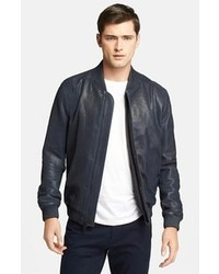 Navy Leather Bomber Jacket