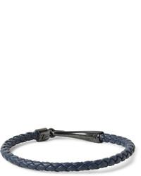 Bottega Veneta Intrecciato Leather And Oxidised Silver Bracelet