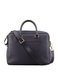 Leather zip briefcase blue medium 131395