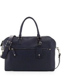 Valentino Rockstud Pebbled Leather Briefcase Navy