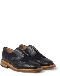 Mark McNairy Pebble Grain Leather And Tweed Panelled Brogues