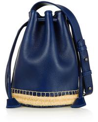 Navy Leather Bucket Bag