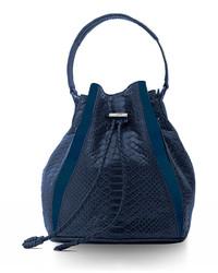Khirma Edam Python Leather Paneled Mini Bucket Bag Navy