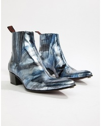 Jeffery West Sylvian Cuban Boots In Brushed Metallic