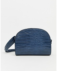 New Look Croc Cross Body In Navy