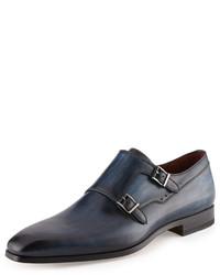 Neiman Marcus Leather Double Monk Shoe Blue