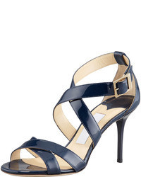 Navy Leather Heeled Sandals