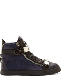 Navy Leather High Top Sneakers