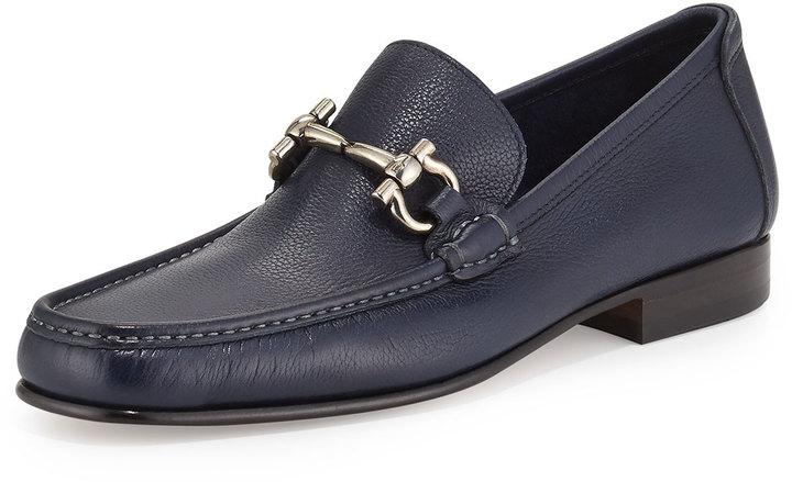 80ea5f1ebd8 ... Leather Loafers Salvatore Ferragamo Giordano Textured Calfskin Gancini  Loafer Navy ...