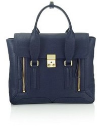 Navy Leather Satchel Bag