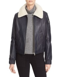 Nappa leather jacket with removable genuine shearling collar medium 757636