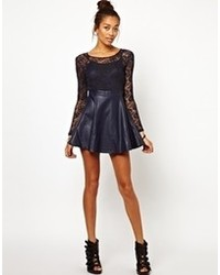 Motel Strawberry Skater Dress In Skull Lace With Pu Skirt Navy