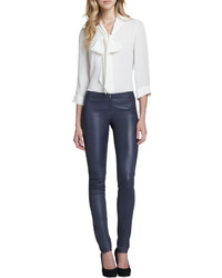 Alice   Olivia Leather Zip Front Leggings Navy | Where to buy ...